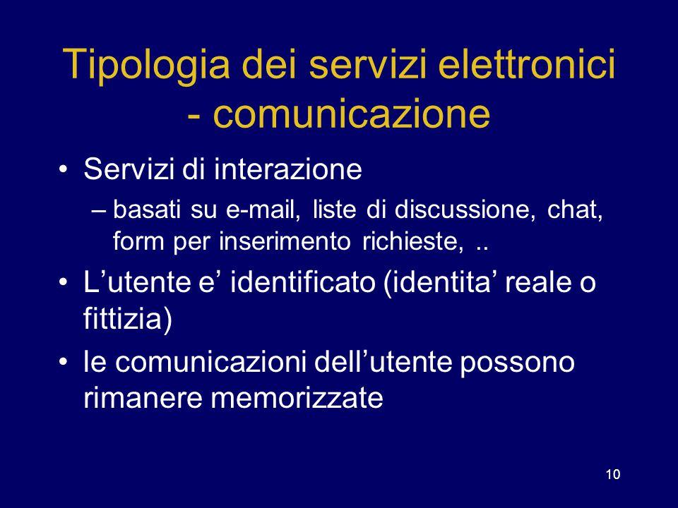 10 Tipologia dei servizi elettronici - comunicazione Servizi di interazione –basati su e-mail, liste di discussione, chat, form per inserimento richie