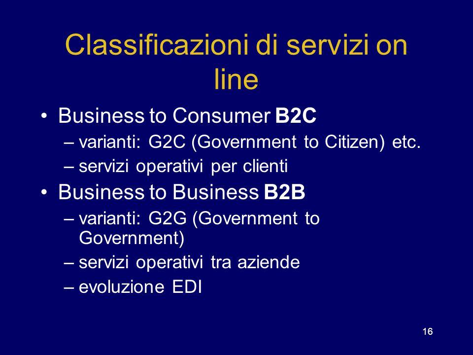 16 Classificazioni di servizi on line Business to Consumer B2C –varianti: G2C (Government to Citizen) etc. –servizi operativi per clienti Business to