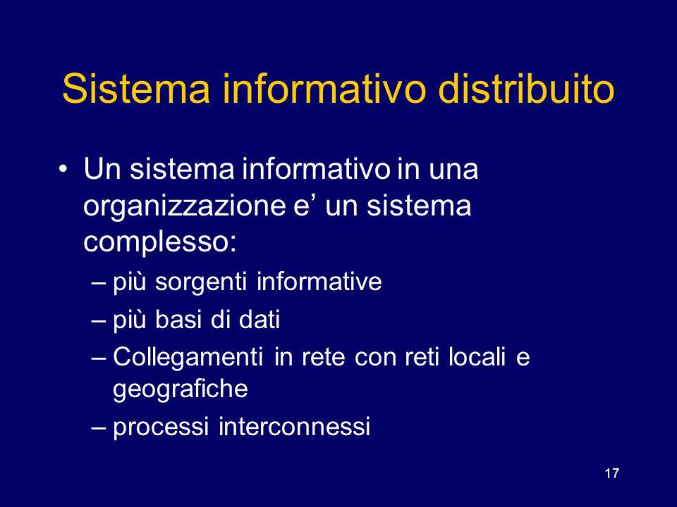 17 Sistema informativo distribuito Un sistema informativo in una organizzazione e' un sistema complesso: –più sorgenti informative –più basi di dati –