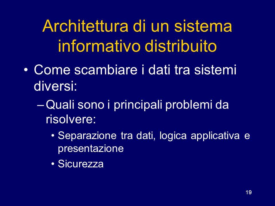 19 Architettura di un sistema informativo distribuito Come scambiare i dati tra sistemi diversi: –Quali sono i principali problemi da risolvere: Separ