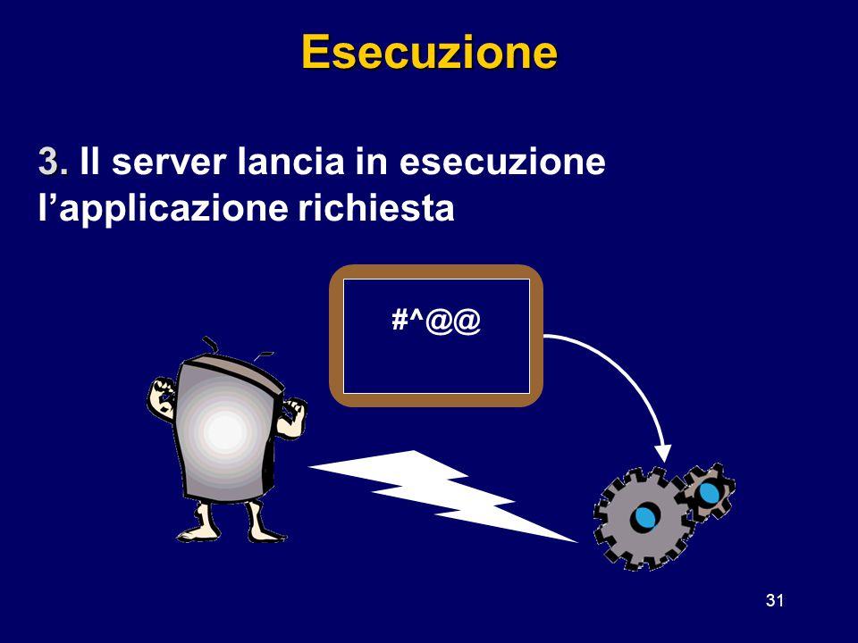 31Esecuzione 3. 3. Il server lancia in esecuzione l'applicazione richiesta #^@@