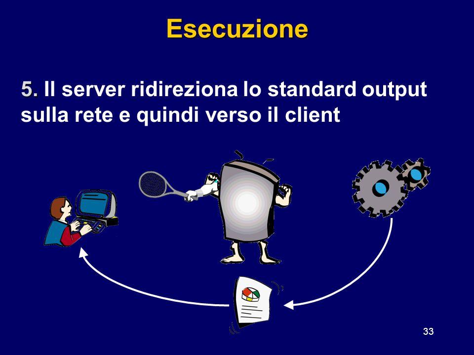 33Esecuzione 5. 5. Il server ridireziona lo standard output sulla rete e quindi verso il client