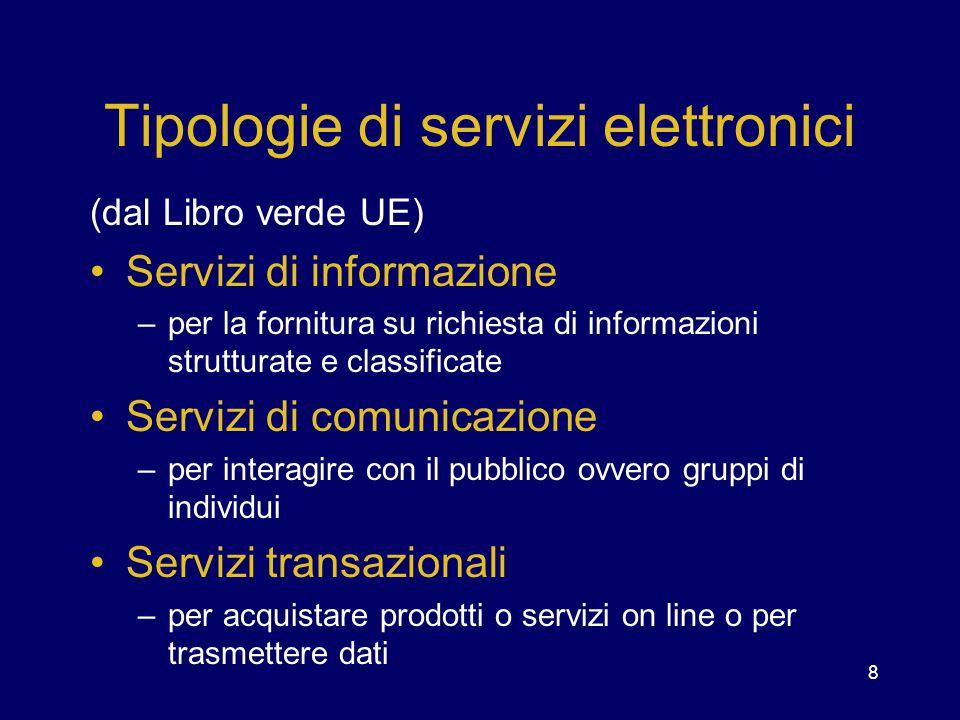 8 Tipologie di servizi elettronici (dal Libro verde UE) Servizi di informazione –per la fornitura su richiesta di informazioni strutturate e classific