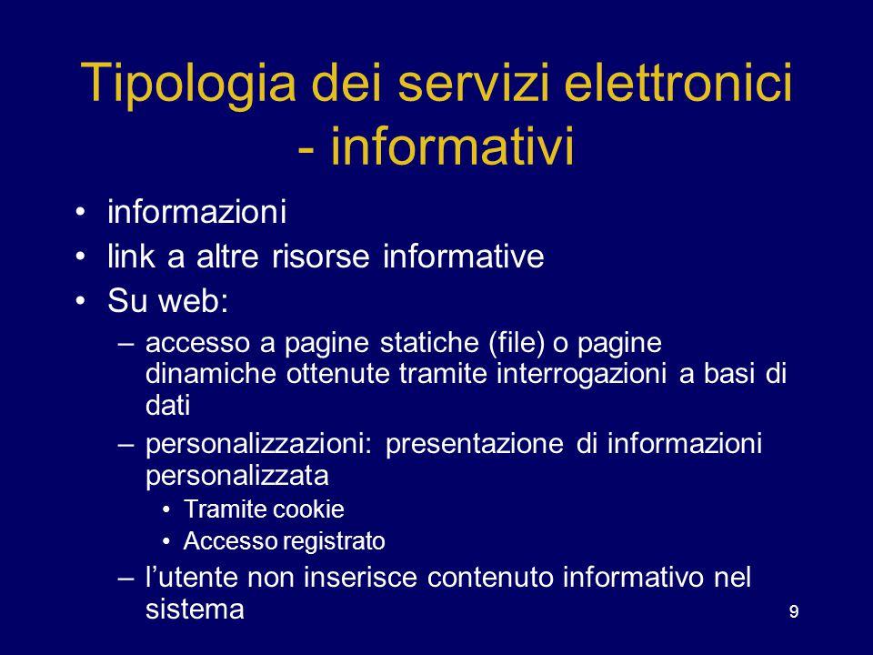 9 Tipologia dei servizi elettronici - informativi informazioni link a altre risorse informative Su web: –accesso a pagine statiche (file) o pagine din