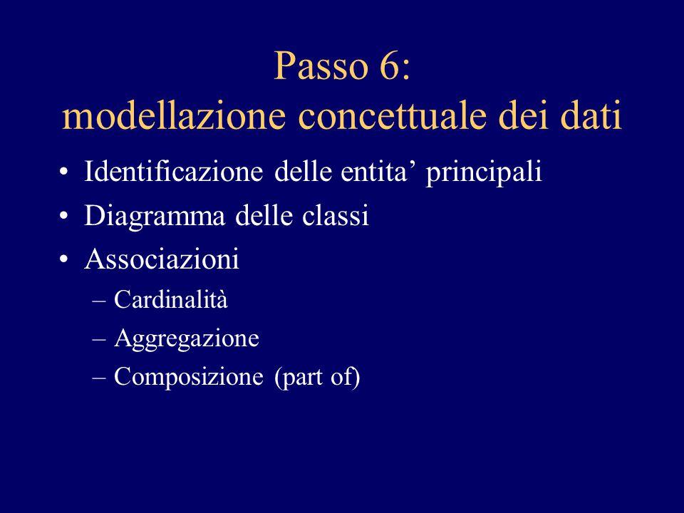 Passo 6: modellazione concettuale dei dati Identificazione delle entita' principali Diagramma delle classi Associazioni –Cardinalità –Aggregazione –Co