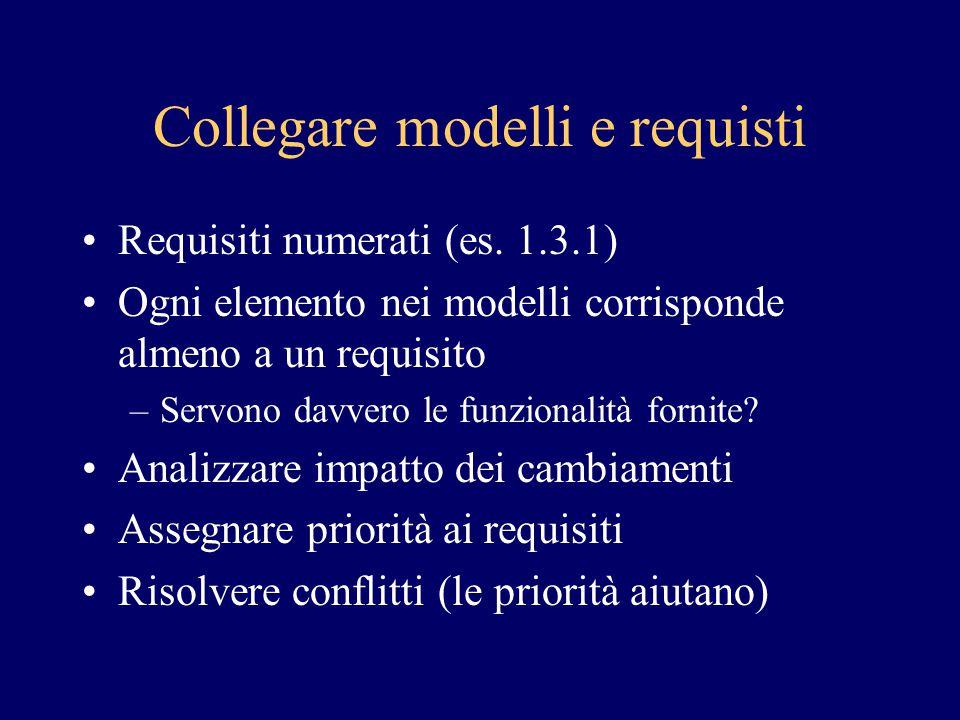 Collegare modelli e requisti Requisiti numerati (es. 1.3.1) Ogni elemento nei modelli corrisponde almeno a un requisito –Servono davvero le funzionali
