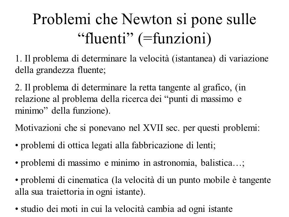 Problemi che Newton si pone sulle fluenti (=funzioni) 1.