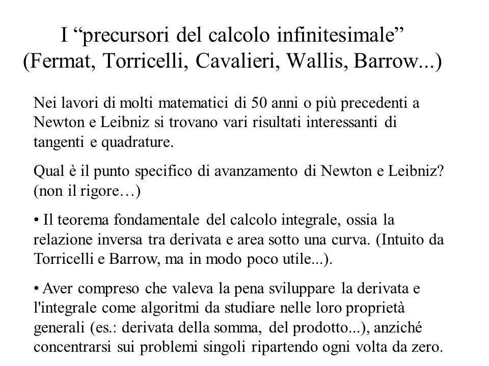 I precursori del calcolo infinitesimale (Fermat, Torricelli, Cavalieri, Wallis, Barrow...) Nei lavori di molti matematici di 50 anni o più precedenti a Newton e Leibniz si trovano vari risultati interessanti di tangenti e quadrature.