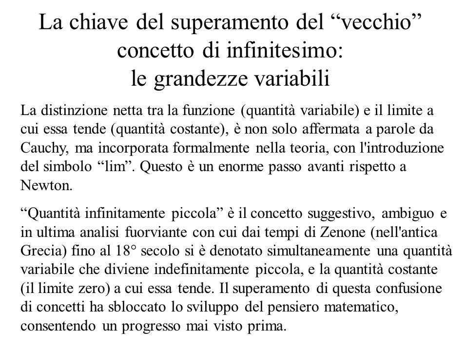 """La chiave del superamento del """"vecchio"""" concetto di infinitesimo: le grandezze variabili La distinzione netta tra la funzione (quantità variabile) e i"""