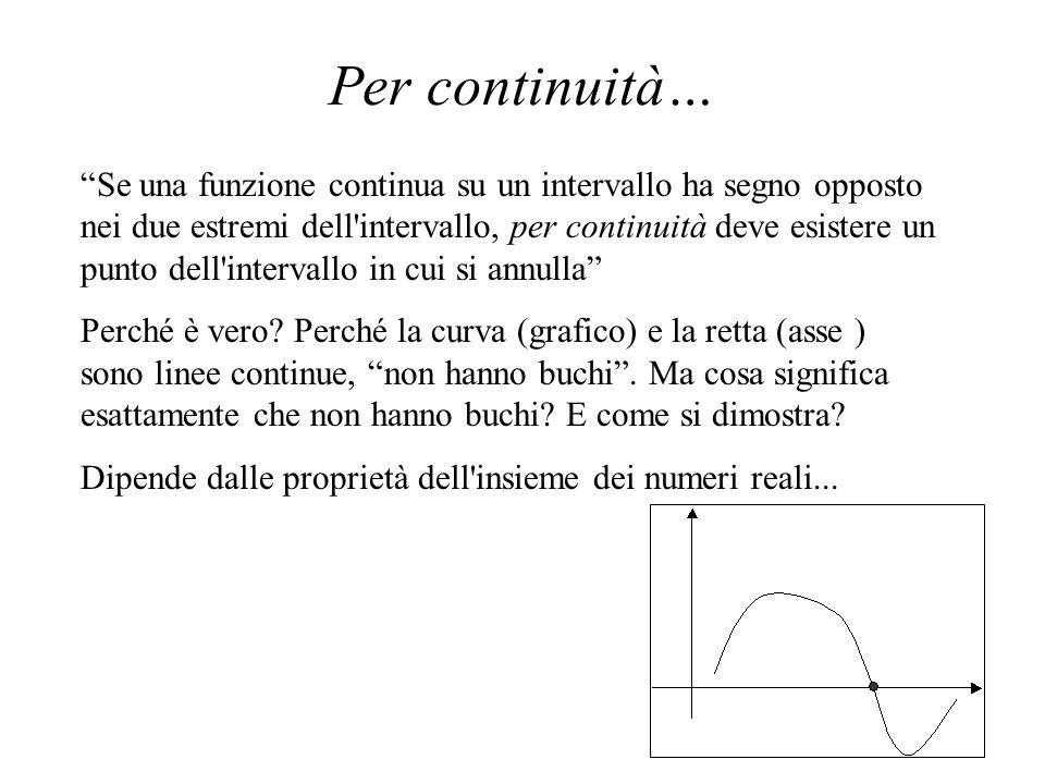 Per continuità… Nella sistemazione moderna dei primi elementi del calcolo infinitesimale, i problemi maggiori si incontrano non tanto nel dimostrare l