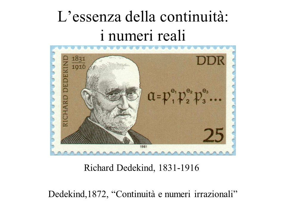 """L'essenza della continuità: i numeri reali Richard Dedekind, 1831-1916 Dedekind,1872, """"Continuità e numeri irrazionali"""""""