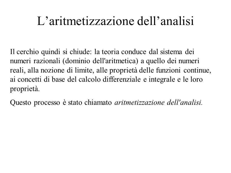L'aritmetizzazione dell'analisi Il cerchio quindi si chiude: la teoria conduce dal sistema dei numeri razionali (dominio dell'aritmetica) a quello dei
