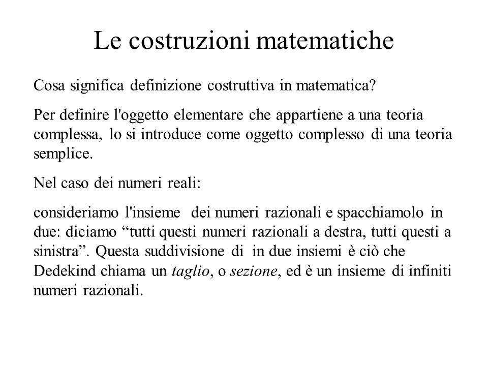 Le costruzioni matematiche Cosa significa definizione costruttiva in matematica? Per definire l'oggetto elementare che appartiene a una teoria comples