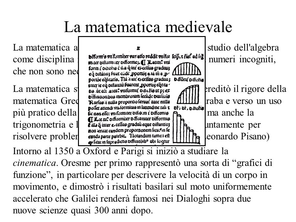 La matematica medievale La matematica araba dell alto medioevo iniziò lo studio dell algebra come disciplina indipendente: problemi attorno a numeri incogniti, che non sono necessariamente lunghezze, aree...