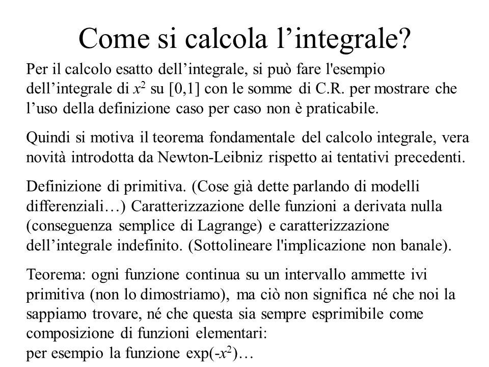 Come si calcola l'integrale? Per il calcolo esatto dell'integrale, si può fare l'esempio dell'integrale di x 2 su [0,1] con le somme di C.R. per mostr
