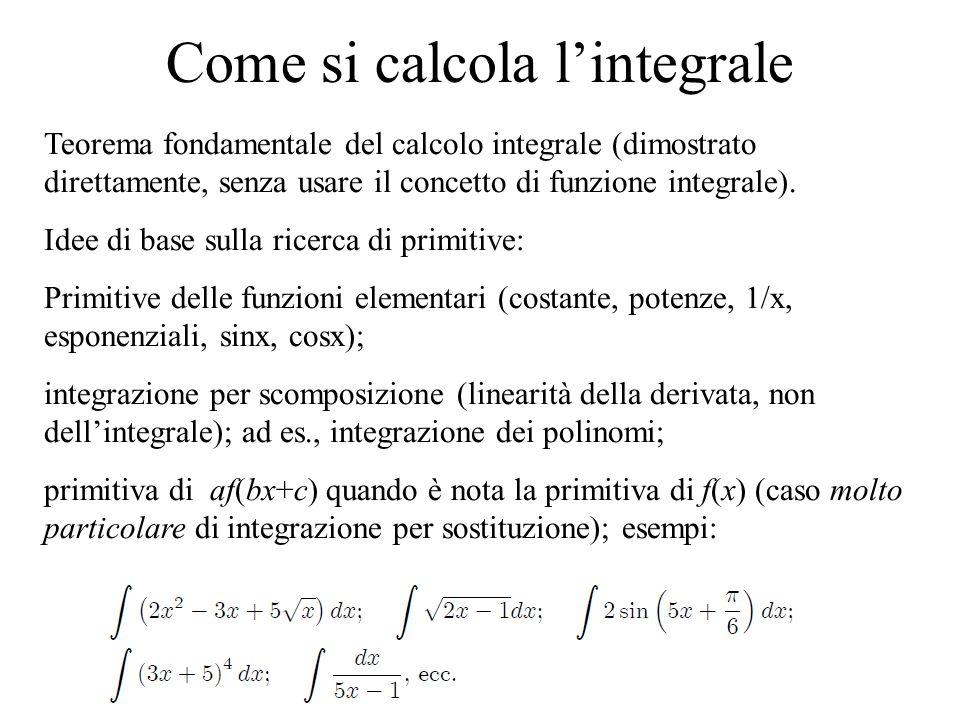 Come si calcola l'integrale Teorema fondamentale del calcolo integrale (dimostrato direttamente, senza usare il concetto di funzione integrale). Idee