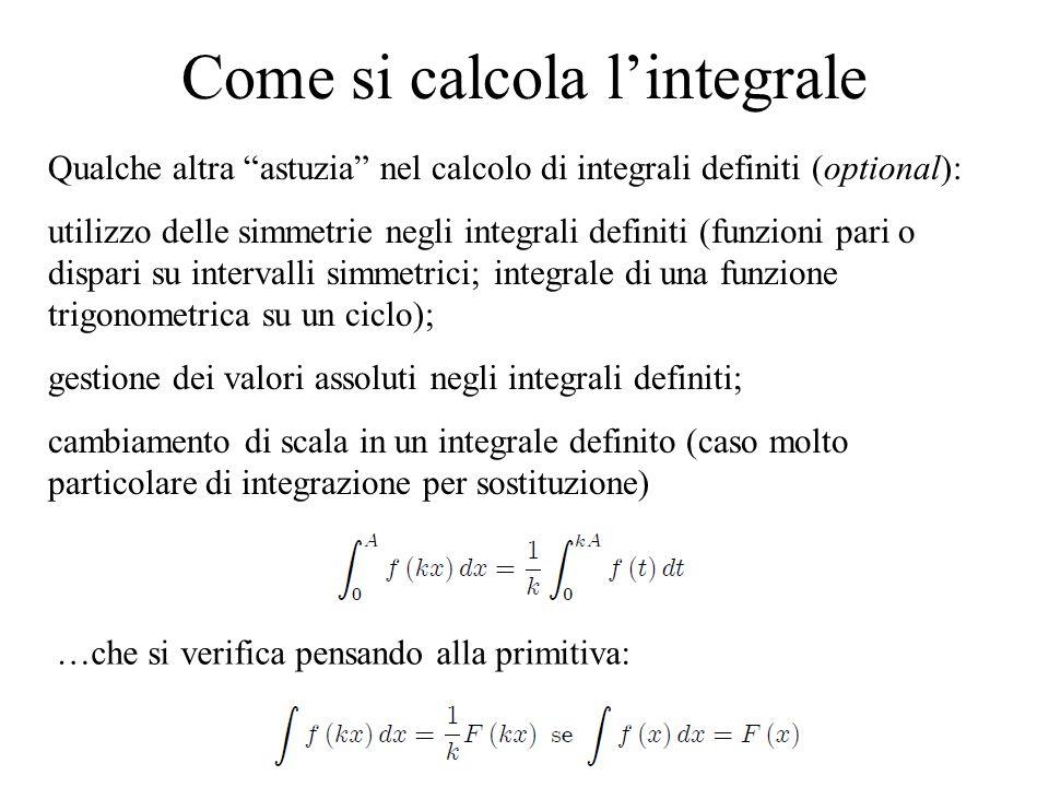 """Come si calcola l'integrale Qualche altra """"astuzia"""" nel calcolo di integrali definiti (optional): utilizzo delle simmetrie negli integrali definiti (f"""