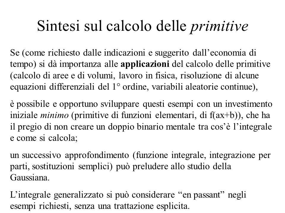 Sintesi sul calcolo delle primitive Se (come richiesto dalle indicazioni e suggerito dall'economia di tempo) si dà importanza alle applicazioni del ca