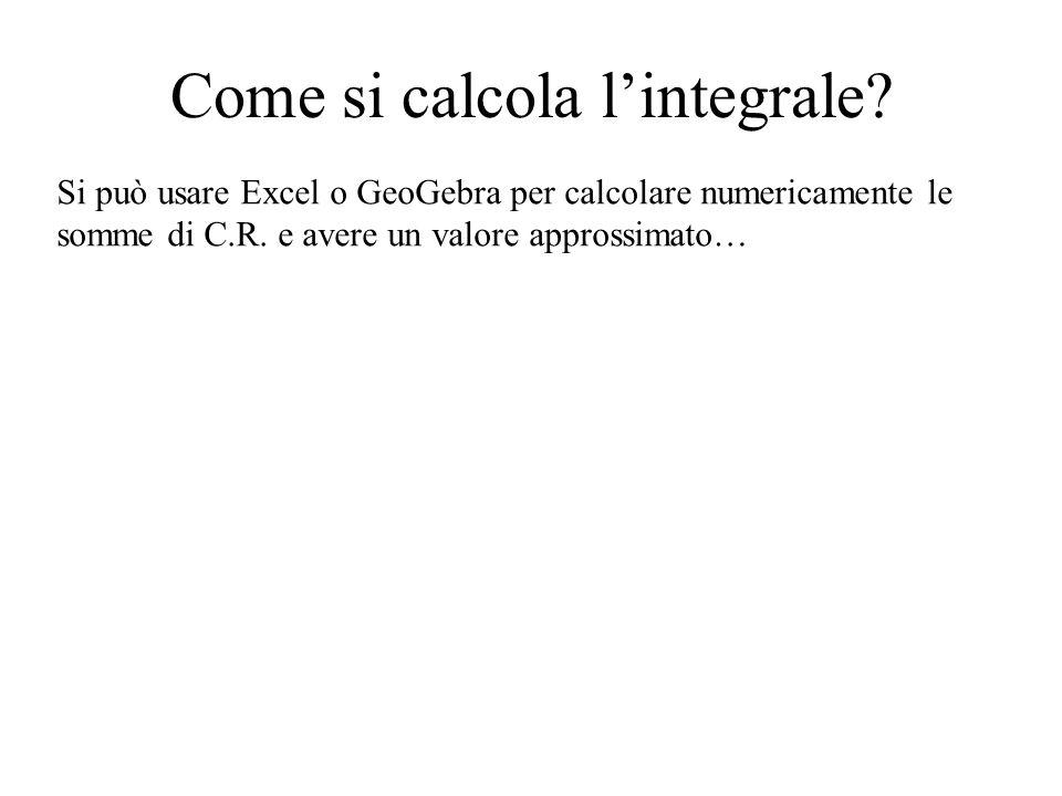 Come si calcola l'integrale? Si può usare Excel o GeoGebra per calcolare numericamente le somme di C.R. e avere un valore approssimato…
