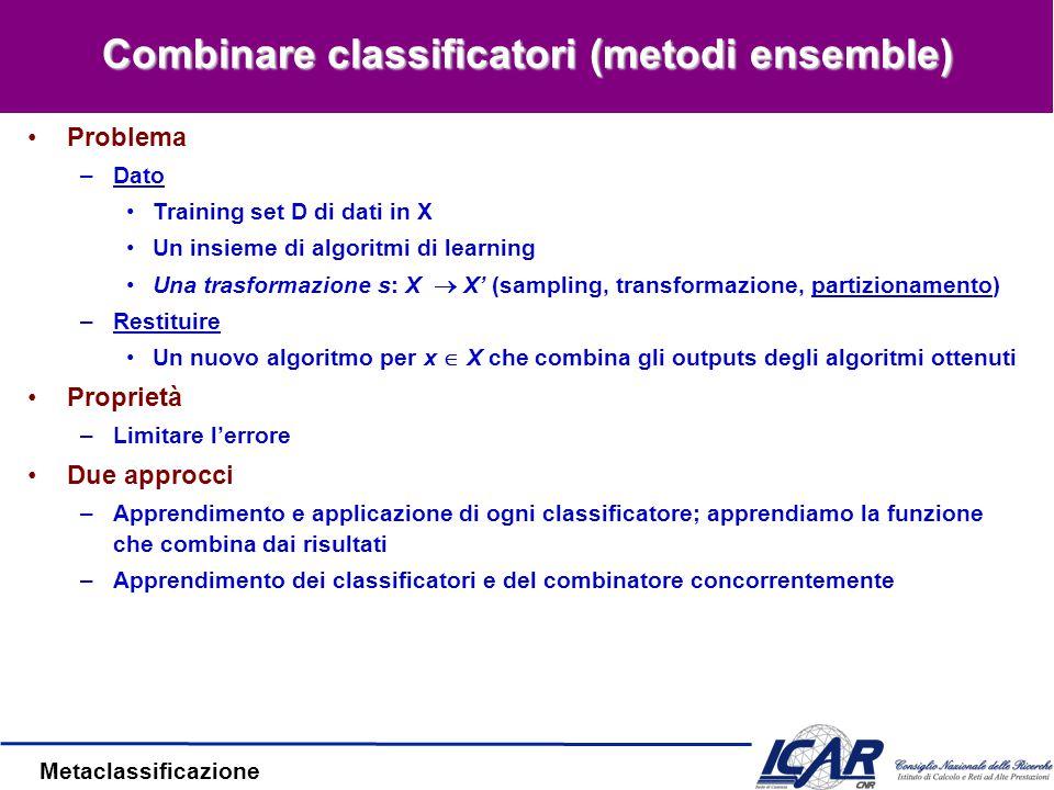 Metaclassificazione Combinare classificatori (metodi ensemble) Problema –Dato Training set D di dati in X Un insieme di algoritmi di learning Una trasformazione s: X  X' (sampling, transformazione, partizionamento) –Restituire Un nuovo algoritmo per x  X che combina gli outputs degli algoritmi ottenuti Proprietà –Limitare l'errore Due approcci –Apprendimento e applicazione di ogni classificatore; apprendiamo la funzione che combina dai risultati –Apprendimento dei classificatori e del combinatore concorrentemente