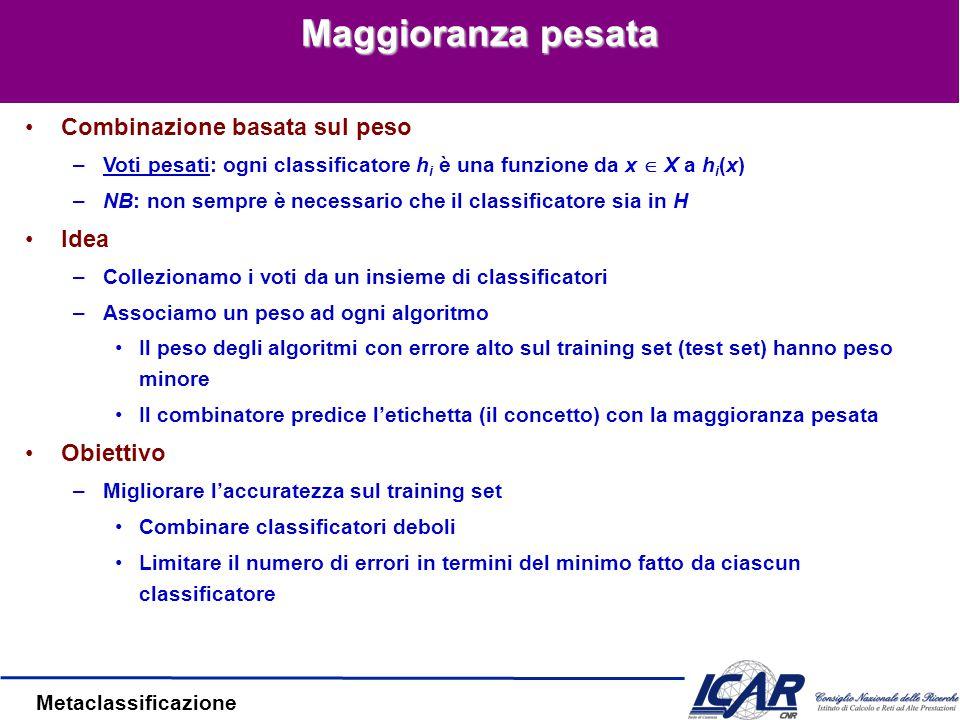 Metaclassificazione Esempio: AdaBoost Classificatori di base: C 1, C 2, …, C T Errore: Importanza di un classificatore: