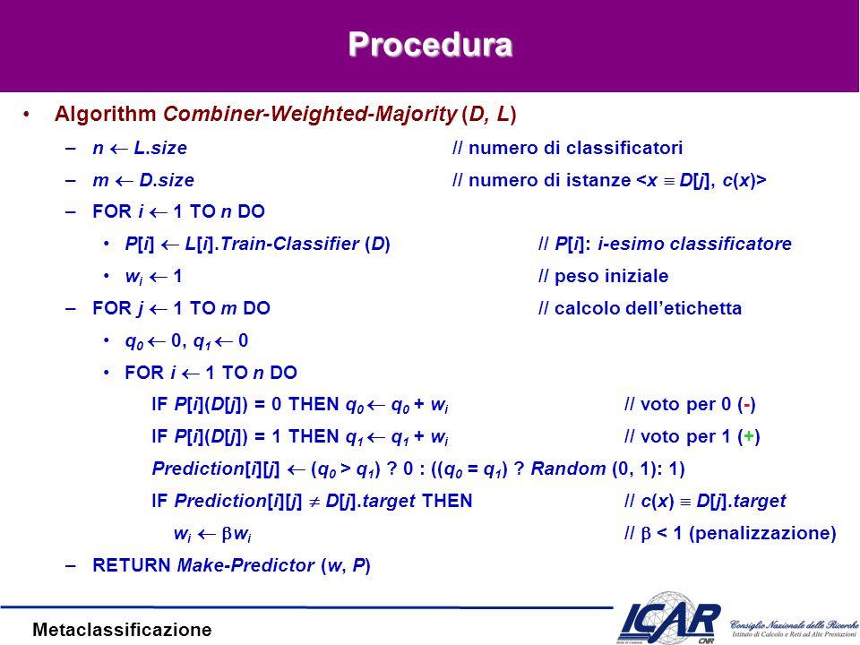Metaclassificazione Procedura Algorithm Combiner-Weighted-Majority (D, L) –n  L.size// numero di classificatori –m  D.size// numero di istanze –FOR i  1 TO n DO P[i]  L[i].Train-Classifier (D)// P[i]: i-esimo classificatore w i  1// peso iniziale –FOR j  1 TO m DO// calcolo dell'etichetta q 0  0, q 1  0 FOR i  1 TO n DO IF P[i](D[j]) = 0 THEN q 0  q 0 + w i // voto per 0 (-) IF P[i](D[j]) = 1 THEN q 1  q 1 + w i // voto per 1 (+) Prediction[i][j]  (q 0 > q 1 ) .