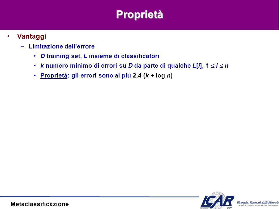 Metaclassificazione Proprietà Vantaggi –Limitazione dell'errore D training set, L insieme di classificatori k numero minimo di errori su D da parte di qualche L[i], 1  i  n Proprietà: gli errori sono al più 2.4 (k + log n)