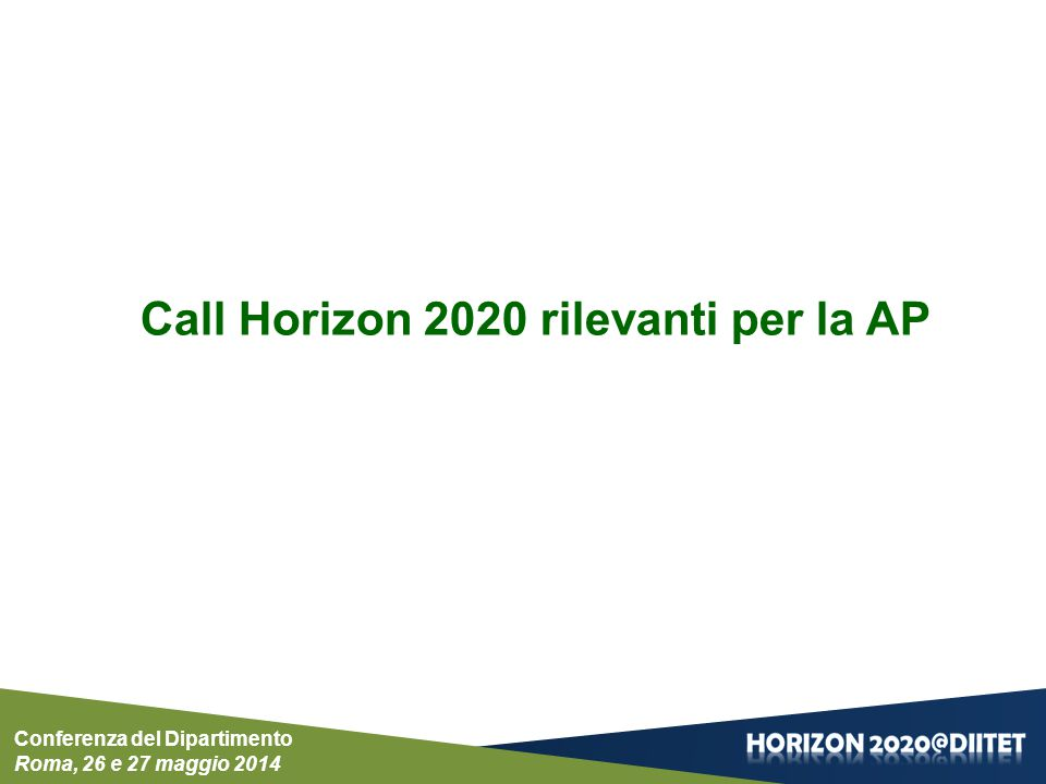 Conferenza del Dipartimento Roma, 26 e 27 maggio 2014 Call Horizon 2020 rilevanti per la AP