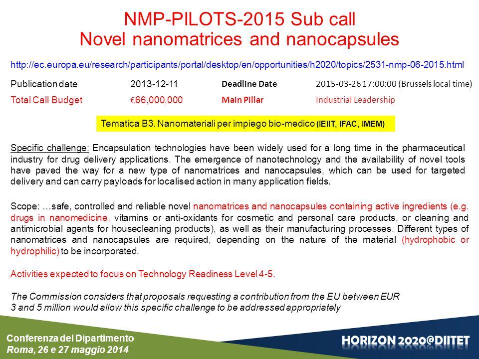 Conferenza del Dipartimento Roma, 26 e 27 maggio 2014 NMP-PILOTS-2015 Sub call Novel nanomatrices and nanocapsules http://ec.europa.eu/research/partic