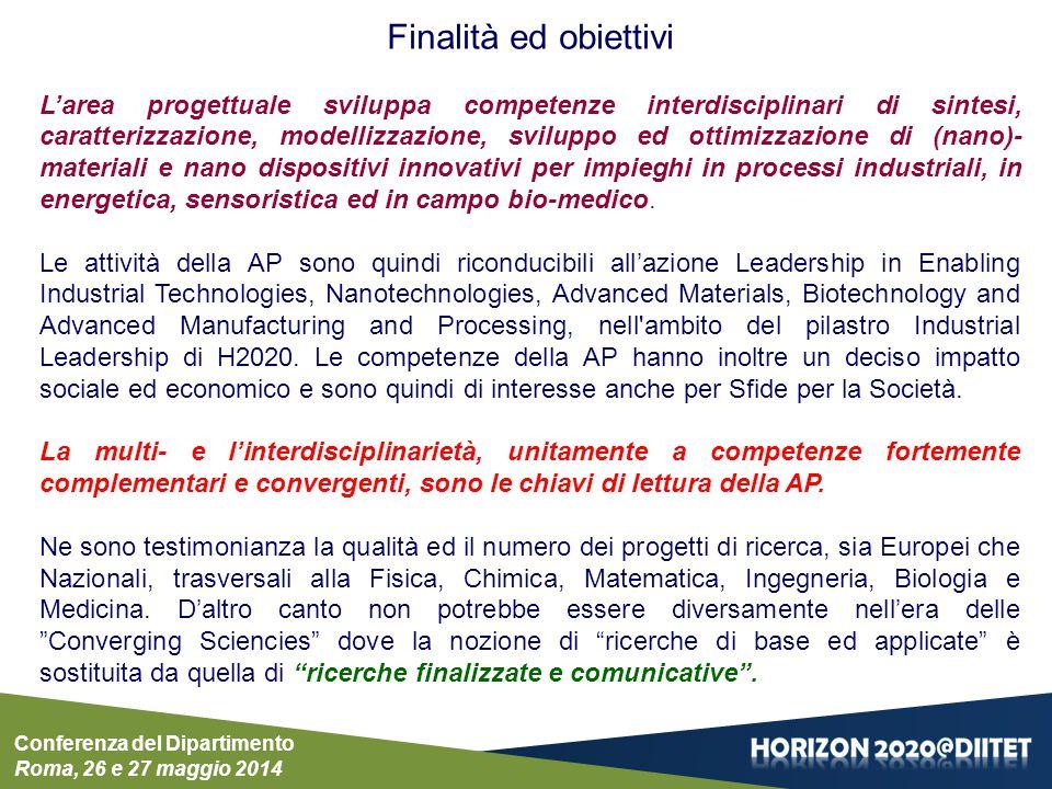 Conferenza del Dipartimento Roma, 26 e 27 maggio 2014 Finalità ed obiettivi L'area progettuale sviluppa competenze interdisciplinari di sintesi, carat