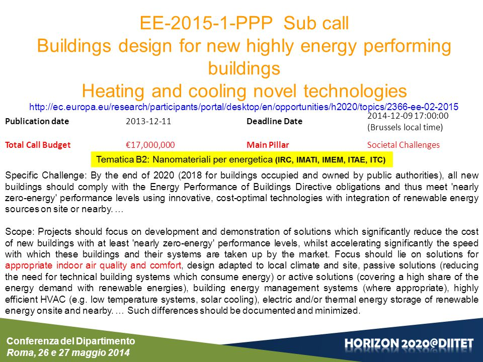 Conferenza del Dipartimento Roma, 26 e 27 maggio 2014 EE-2015-1-PPP Sub call Buildings design for new highly energy performing buildings Heating and c