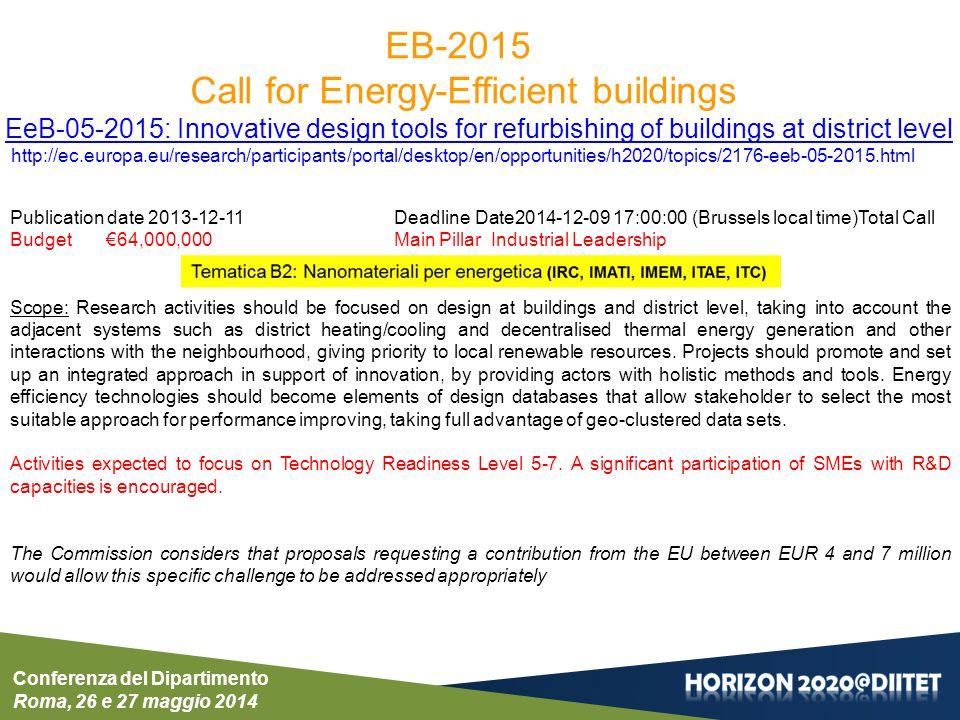 Conferenza del Dipartimento Roma, 26 e 27 maggio 2014 Publication date 2013-12-11Deadline Date2014-12-09 17:00:00 (Brussels local time)Total Call Budg