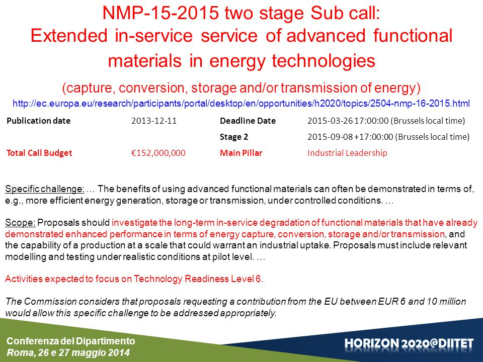 Conferenza del Dipartimento Roma, 26 e 27 maggio 2014 NMP-15-2015 two stage Sub call: Extended in-service service of advanced functional materials in