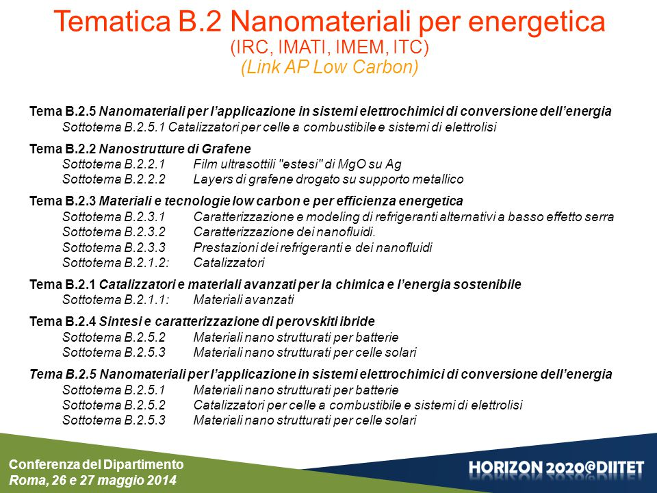 Conferenza del Dipartimento Roma, 26 e 27 maggio 2014 NMP-PILOTS-2015Sub call Manufacturing and control of nanoporous materials http://ec.europa.eu/research/participants/portal/desktop/en/opportunities/h2020/topics/2530-nmp-03-2015.html Scope: Proposals should address the development and demonstration in relevant industrial environments of reliable processes control and manufacturing routes, to obtain nanoporous materials with controlled porosity distribution or gradient aiming at improved mechanical properties, reliable permeation rate, different electrical properties, anti-fouling or other bio-, photo- or thermo-chemical/physical properties.