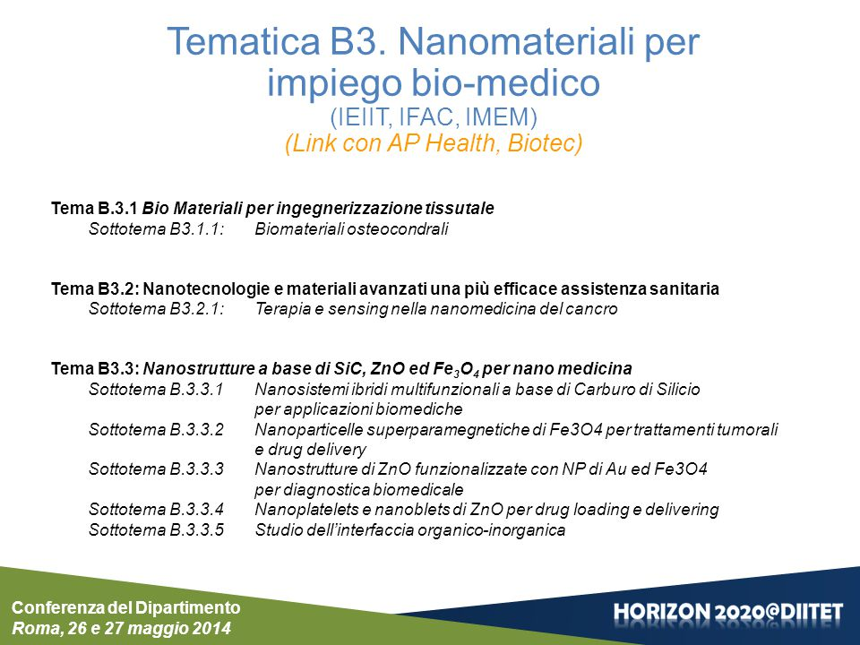Conferenza del Dipartimento Roma, 26 e 27 maggio 2014 Tematica B3. Nanomateriali per impiego bio-medico (IEIIT, IFAC, IMEM) (Link con AP Health, Biote