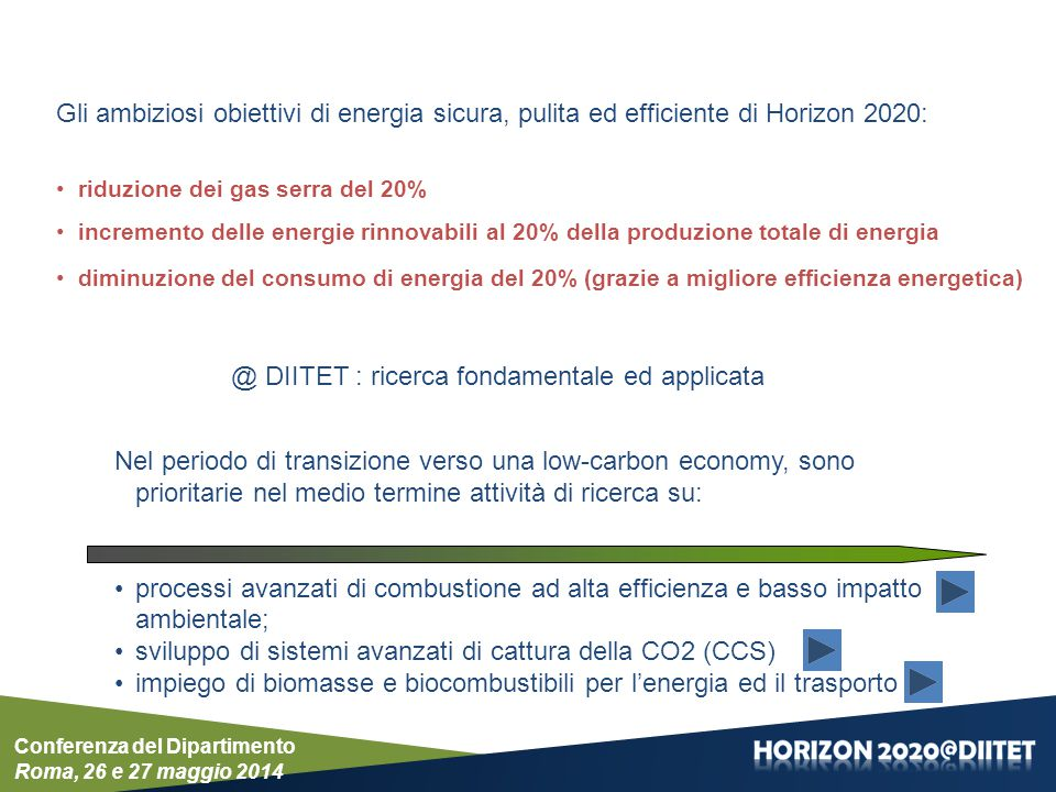 4) CALL FOR COMPETITIVE LOW-CARBON ENERGY – Main Pillar: Societal Challenge – LCE-02-2015: Developing the next generation technologies of renewable electricity and heating/cooling – LCE-11-2015: Developing next generation technologies for biofuels and sustainable alternative fuels – LCE-15-2015: Enabling decarbonisation of the fossil fuel-based power sector and energy intensive industry through CCS – LCE-17-2015: Highly flexible and efficient fossil fuel power plants 5) CALL FOR COMPETITIVE LOW-CARBON ENERGY – Main Pillar: Societal Challenges – LCE-03-2014: Demonstration of renewable electricity and heating/cooling technologies – LCE-12-2014: Demonstrating advanced biofuel technologies – LCE-19-2014: Supporting coordination of national R&D activities – LCE-20-2014: The human factor in the energy system 7) ENERGY EFFICIENCY - PPP EEB AND SPIRE TOPICS – Main Pillar: Societal Challenge – EE-02-2015: Buildings design for new highly energy performing buildings – EE-18-2015: New technologies for utilization of heat recovery in large industrial systems, considering the whole energy cycle from heat production to transformation, delivery and end use 6) CALL FOR ENERGY-EFFICIENT BUILDINGS – Main Pillar: Industrial Leadership – EeB-05-2015: Innovative design tools for refurbishing of buildings at district level – EeB-06-2015: Integrated solutions of thermal energy storage for building applications – EeB-08-2015: Integrated approach to retrofitting of residential buildings – EeB-07-2015: New tools and methodologies to reduce the gap between predicted and actual energy performances at the level of buildings and blocks of buildings Conferenza del Dipartimento Roma, 26 e 27 maggio 2014