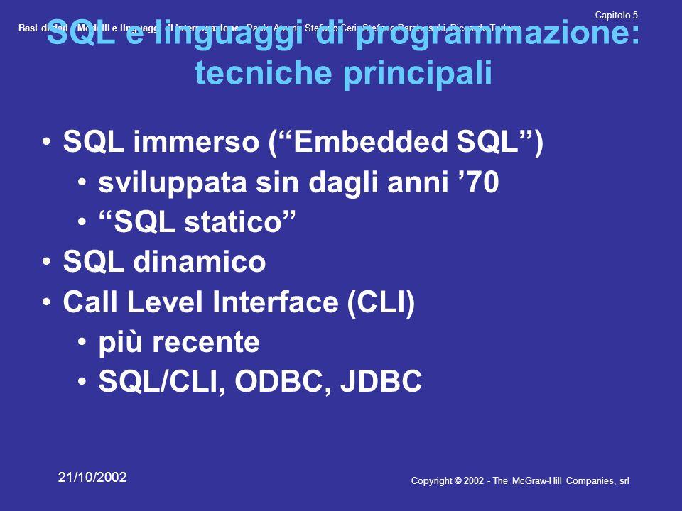 Basi di dati - Modelli e linguaggi di interrogazione- Paolo Atzeni, Stefano Ceri, Stefano Paraboschi, Riccardo Torlone Copyright © 2002 - The McGraw-Hill Companies, srl Capitolo 5 21/10/2002 SQL e linguaggi di programmazione: tecniche principali SQL immerso ( Embedded SQL ) sviluppata sin dagli anni '70 SQL statico SQL dinamico Call Level Interface (CLI) più recente SQL/CLI, ODBC, JDBC