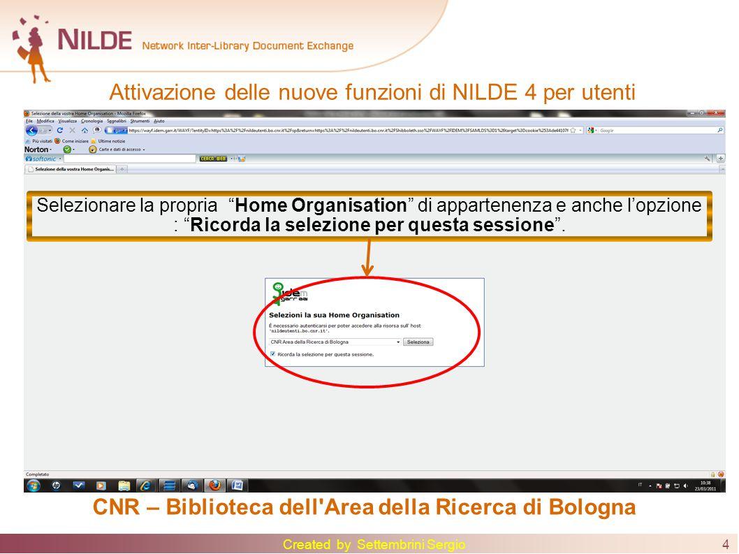 5 CNR – Biblioteca dell Area della Ricerca di Bologna Viene chiesto di proseguire per attivare le nuove funzioni di NILDE 4 Created by Settembrini Sergio Attivazione delle nuove funzioni di NILDE 4 per utenti