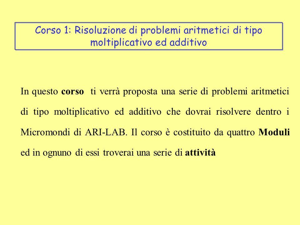 In questo corso ti verrà proposta una serie di problemi aritmetici di tipo moltiplicativo ed additivo che dovrai risolvere dentro i Micromondi di ARI-LAB.