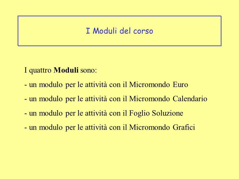 I quattro Moduli sono: - un modulo per le attività con il Micromondo Euro - un modulo per le attività con il Micromondo Calendario - un modulo per le attività con il Foglio Soluzione - un modulo per le attività con il Micromondo Grafici I Moduli del corso