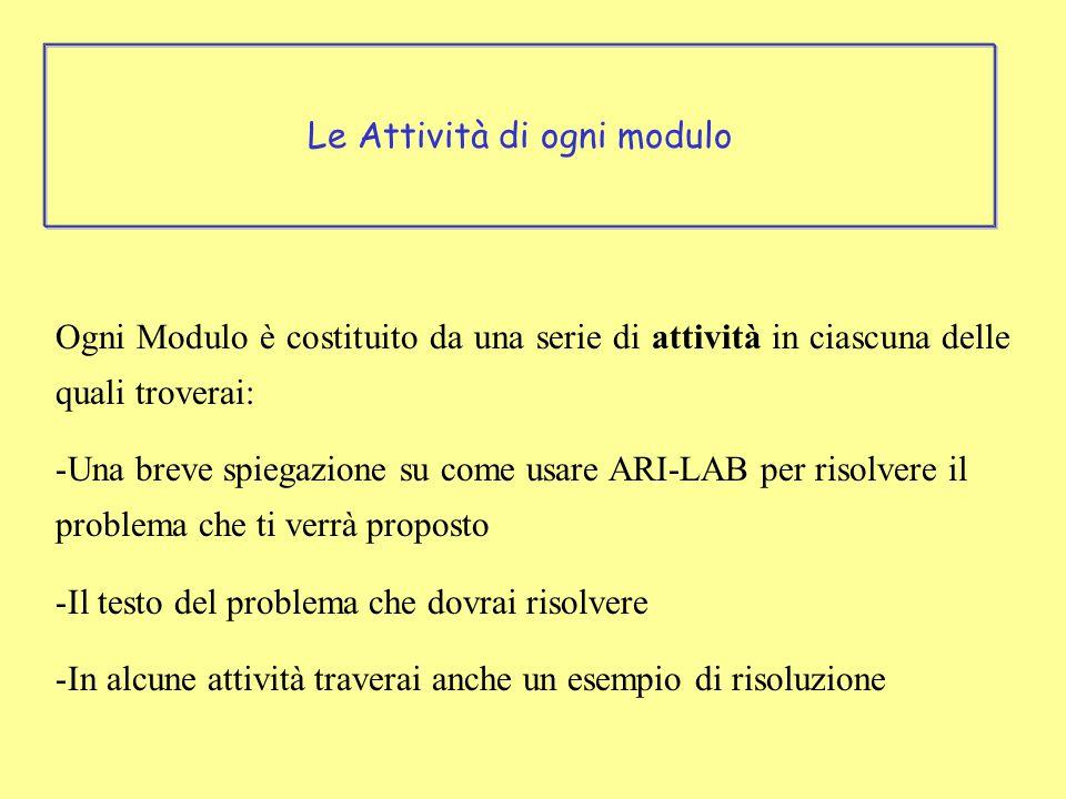 Ogni Modulo è costituito da una serie di attività in ciascuna delle quali troverai: -Una breve spiegazione su come usare ARI-LAB per risolvere il problema che ti verrà proposto -Il testo del problema che dovrai risolvere -In alcune attività traverai anche un esempio di risoluzione Le Attività di ogni modulo