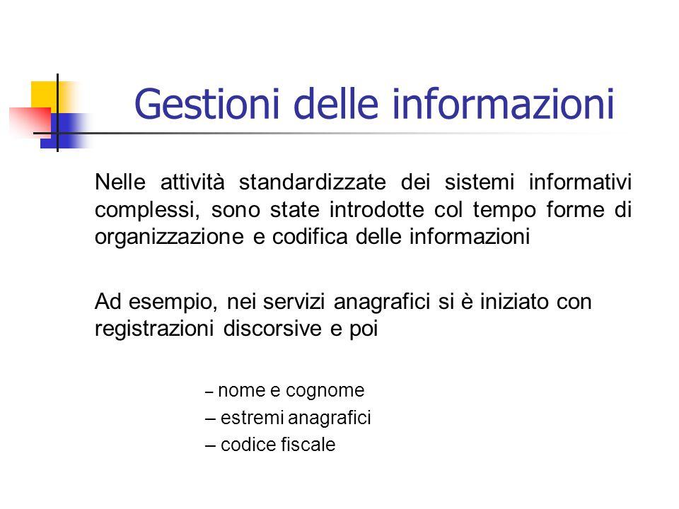 Gestione delle informazioni Nei sistemi informatici (e non solo), le informazioni vengono rappresentate in modo essenziale, spartano: attraverso i dati