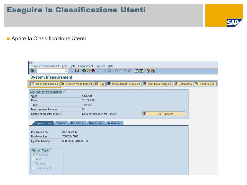 Eseguire la Classificazione Utenti Aprire la Classificazione Utenti