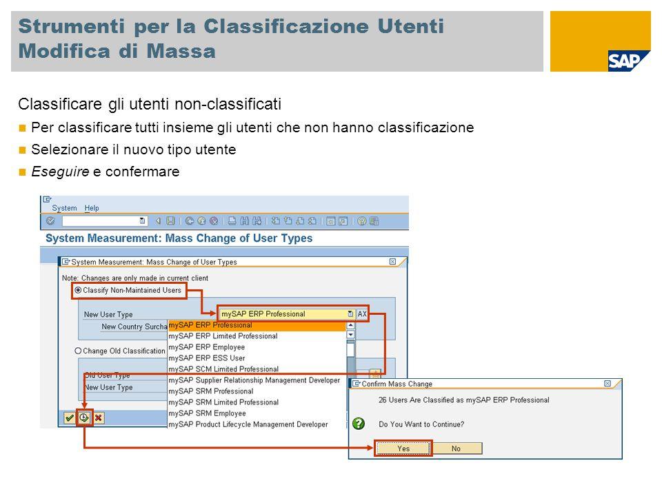 Strumenti per la Classificazione Utenti Modifica di Massa Classificare gli utenti non-classificati Per classificare tutti insieme gli utenti che non h