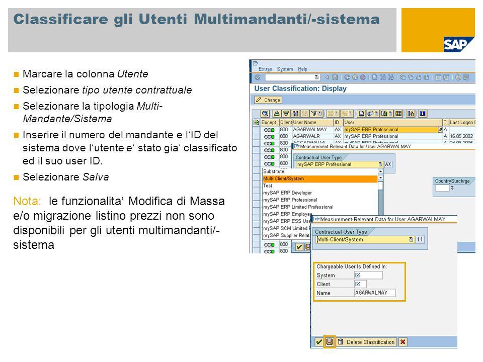 Classificare gli Utenti Multimandanti/-sistema Marcare la colonna Utente Selezionare tipo utente contrattuale Selezionare la tipologia Multi- Mandante