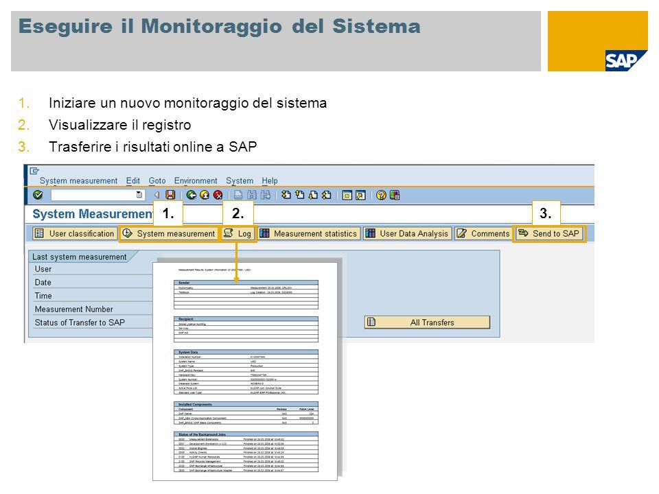 Eseguire il Monitoraggio del Sistema 1.Iniziare un nuovo monitoraggio del sistema 2.Visualizzare il registro 3.Trasferire i risultati online a SAP 1.2