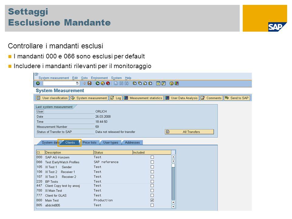 Settaggi Esclusione Mandante Controllare i mandanti esclusi I mandanti 000 e 066 sono esclusi per default Includere i mandanti rilevanti per il monito