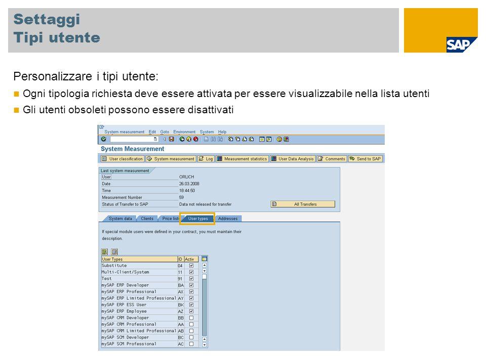 Settaggi Tipi utente Personalizzare i tipi utente: Ogni tipologia richiesta deve essere attivata per essere visualizzabile nella lista utenti Gli uten