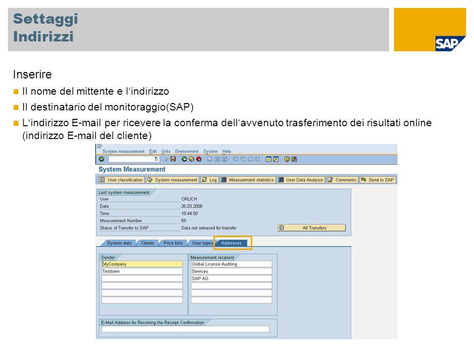 Settaggi Indirizzi Inserire Il nome del mittente e l'indirizzo Il destinatario del monitoraggio(SAP) L'indirizzo E-mail per ricevere la conferma dell'