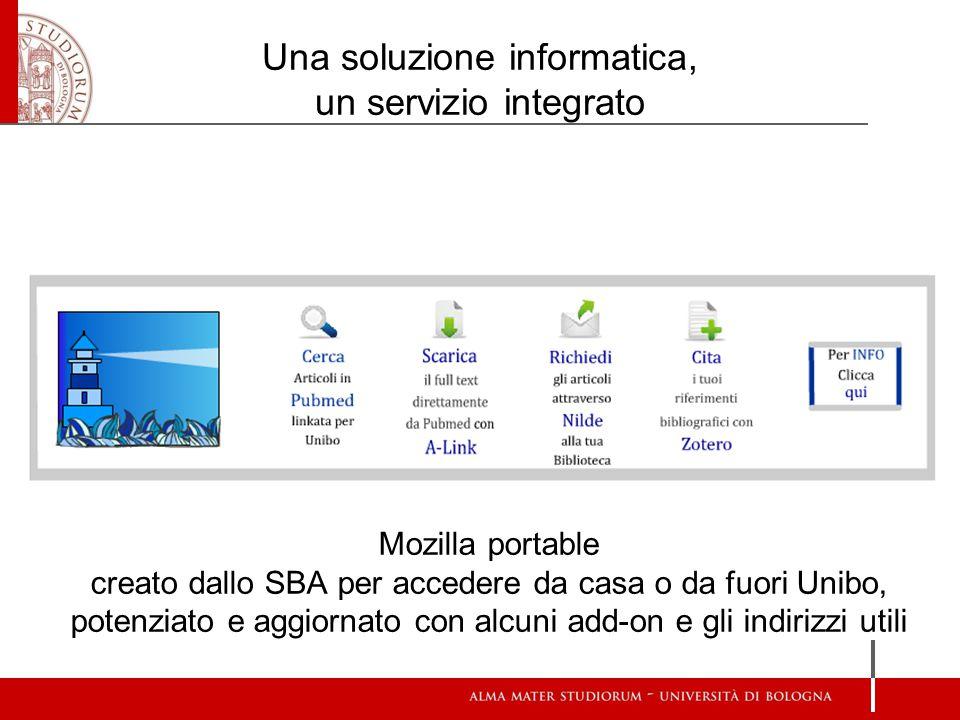 Una soluzione informatica, un servizio integrato Mozilla portable creato dallo SBA per accedere da casa o da fuori Unibo, potenziato e aggiornato con alcuni add-on e gli indirizzi utili